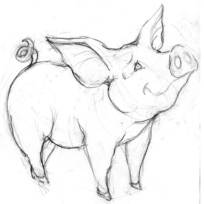 Farm animal sketch preview walking in public for Realistic pig coloring pages